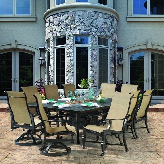 Castelle Bellagio Sling Traditional Outdoor Dining Set for 10 with Fire Table - CS-BELLAGIO-SET1