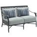 Castelle aluminum loveseat with deep seating cushions