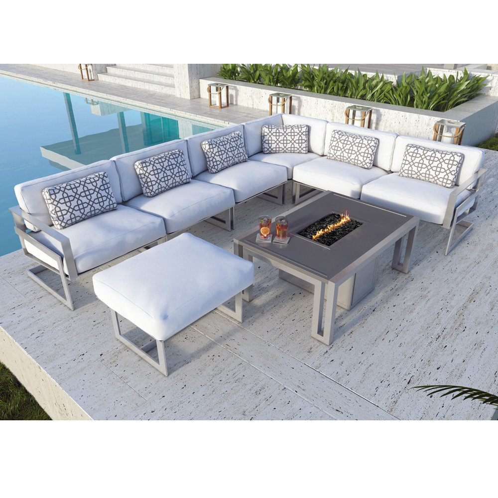 Castelle Eclipse Modern Outdoor Sectional with Icon Fire Table - CS-ECLIPSE-SET1