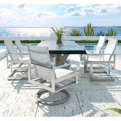 Castelle Eclipse Sling Modern Outdoor Dining Set with Live Edge Table - CS-ECLIPSE-SET3