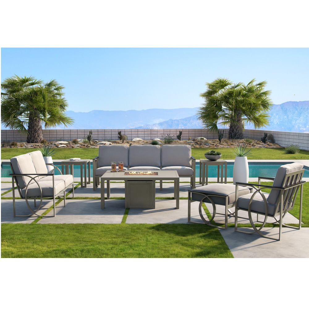 Castelle Hermosa Cushion Outdoor Furniture Set with Icon Fire Table - CS-HERMOSA-SET2
