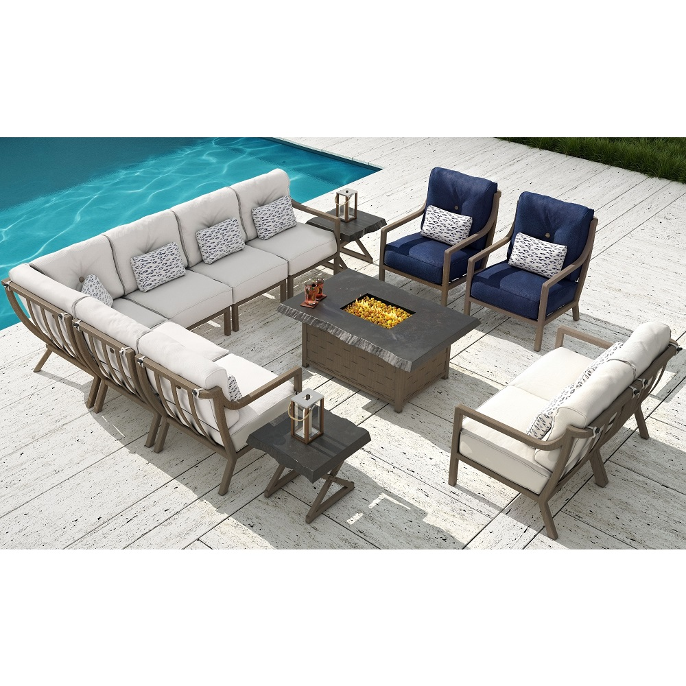 Castelle Legend Cushion Outdoor Sectional Patio Set - CS-LEGEND-SET3