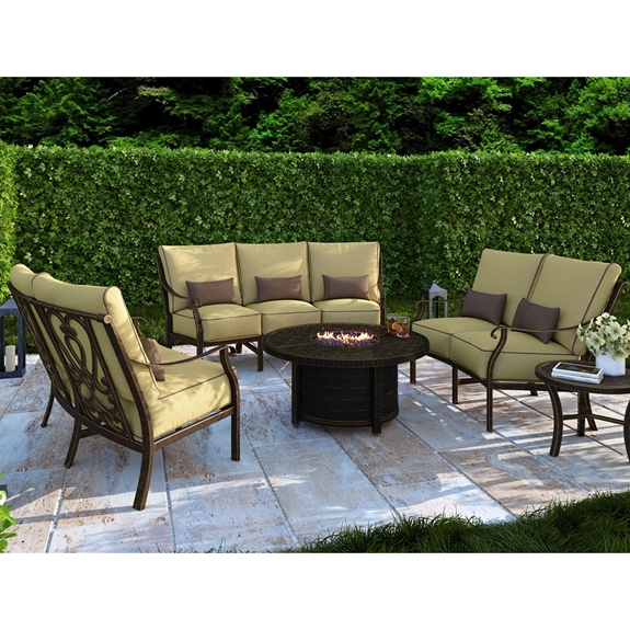 Castelle Madrid Crescent Outdoor Furniture Set with Coffee Firepit Table - CS-MADRID-SET2