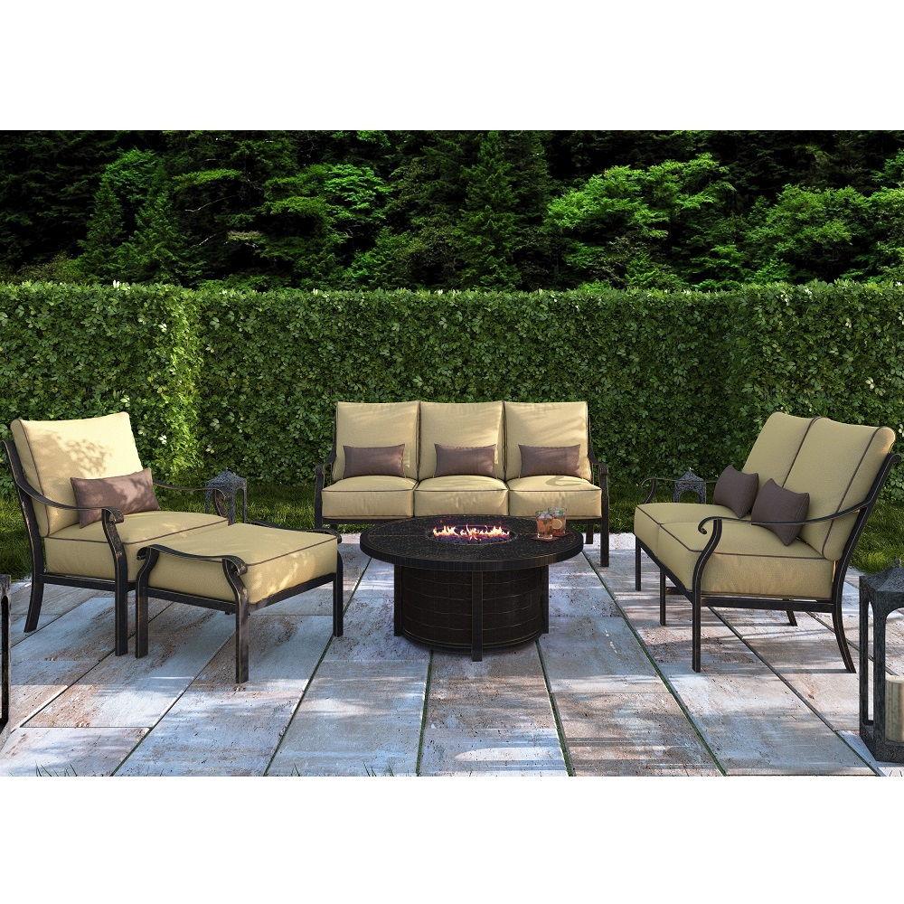Castelle Madrid Cushion Outdoor Furniture Set with Firepit Table - CS-MADRID-SET3