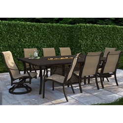 Castelle Madrid Sling Outdoor Dining Set with Classical Firepit Dining Table for 8 - CS-MADRID-SET4