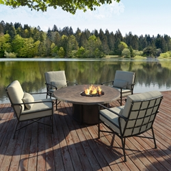 Castelle Marquis Lounge Chair Set with Natures Wood Fire Pit Table - CS-MARQUIS-SET1