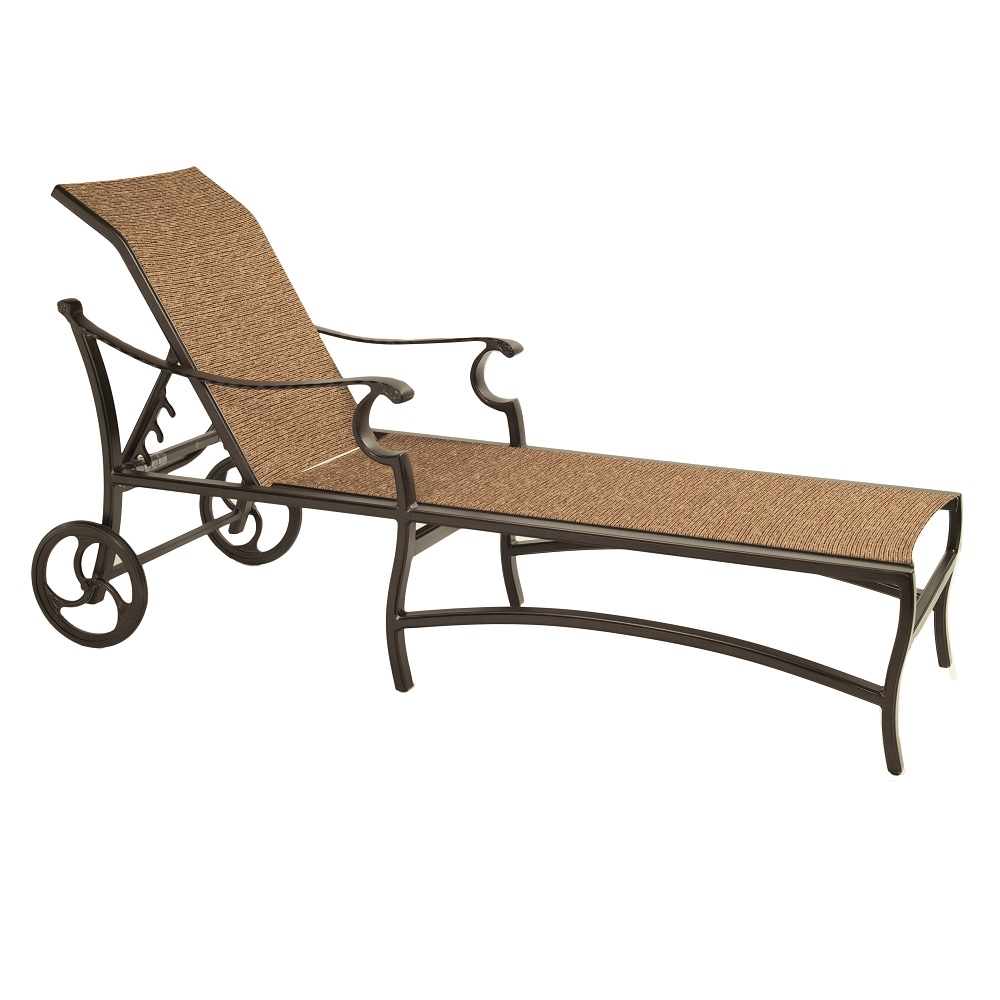 Castelle Monterey Adjustable Sling Chaise Lounge with Wheels - 5892S