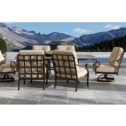 Castelle Monterey Cushion Outdoor Dining Set with Vintage Cast Table for 6 - CS-MONTEREY-SET1