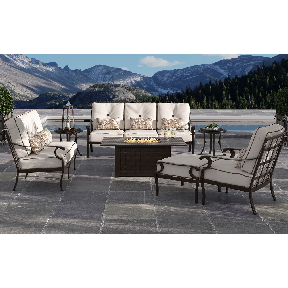 Castelle Monterey Deep Seating Outdoor Furniture Set with Coffee Firepit Table - CS-MONTEREY-SET2