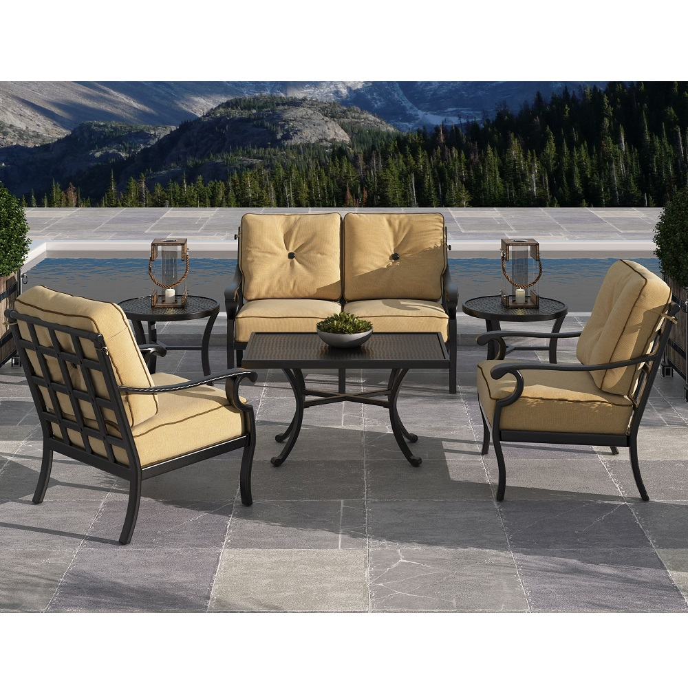 Castelle Monterey Loveseat and Lounge Chair Outdoor Furniture Set - CS-MONTEREY-SET3