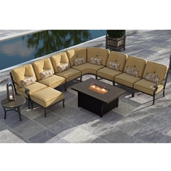 Castelle Monterey Cushion Outdoor Sectional with Firepit Table - CS-MONTEREY-SET4