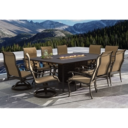 Castelle Monterey Sling Outdoor Dining Set for 10 with Firepit Table - CS-MONTEREY-SET5