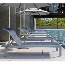 Castelle Orion Chaise Lounge Set with Umbrella Side Tables - CS-ORION-SET1