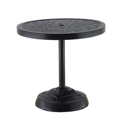 "Castelle Contemporary 26"" Round Cast Top Side Table with Built In Umbrella Base - 75 lbs - HCO24"