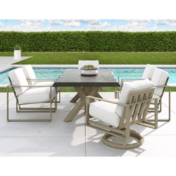 Castelle Park Place Cushion Outdoor Dining Set with Live Edge Table - CS-PARKPLACE-SET2
