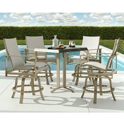 Castelle Park Place Sling Modern Outdoor Counter Height Set for 4 - CS-PARKPLACE-SET4