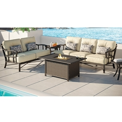 Castelle Resort Fusion Patio Furniture Set with Firepit Table - CS-RESORT-SET2
