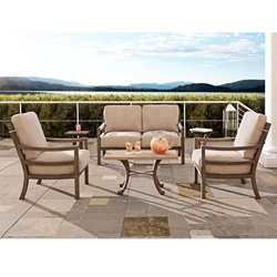 Castelle Roma Loveseat and Lounge Chair Outdoor Set with Sienna Tables - CS-ROMA-SET4