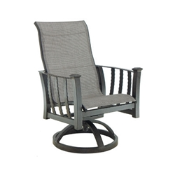 Castelle Santa Fe Sling Swivel Rocker Dining Chair - 1497S