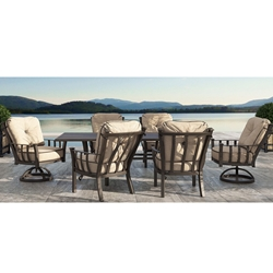 Castelle Santa Fe Cushion Outdoor Dining Set for 6 with Vintage Cast Table - CS-SANTAFE-SET2