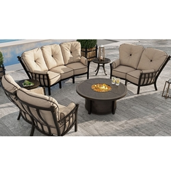 Castelle Santa Fe Crescent Outdoor Furniture Set with Round Firepit Coffee Table - CS-SANTAFE-SET3