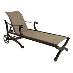 Castelle Telluride Adjustable Sling Chaise Lounge with Wheels - 2862S