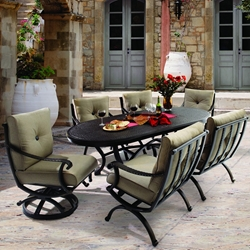 Castelle Telluride Cushion Patio Dining Set for 6 with Classical Table - CS-TELLURIDE-SET1