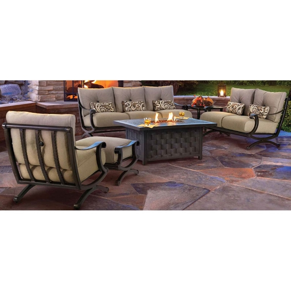 Castelle Telluride Outdoor Furniture Set with Firepit Coffee Table - CS-TELLURIDE-SET2