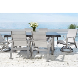 Castelle Trento Sling Outdoor Dining Set with Live Edge Table - CS-TRENTO-SET4