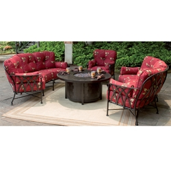 Castelle Veranda Crescent Outdoor Sofa Set with Firepit Table - CS-VERANDA-SET3