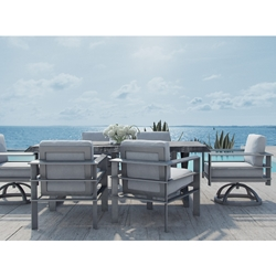 Castelle Vertice Modern Outdoor Dining Set with Live Edge Table - CS-VERTICE-SET3