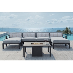 Castelle Vertice Outdoor Sectional with Chaises and Firepit Table - CS-VERTICE-SET5