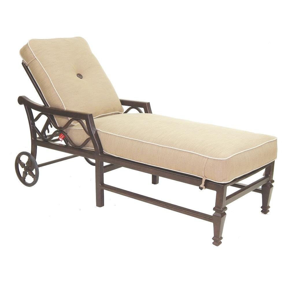 Castelle Villa Bianca Adjustable Cushioned Chaise Lounge with Wheels - 1112T
