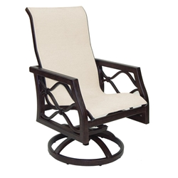 Castelle Villa Bianca Sling Swivel Rocker Dining Chair - 1197S