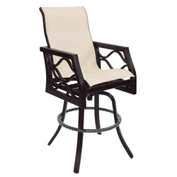 Castelle Villa Bianca High Back Sling Swivel Bar Stool - 1199S