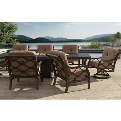 Castelle Villa Bianca Firepit Dining Set for 8 - CS-VILLABIANCA-SET2