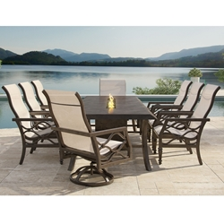 Castelle Villa Bianca Sling Outdoor Dining Set for 8 - CS-VILLABIANCA-SET6