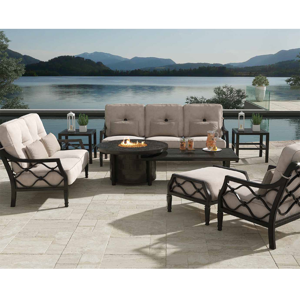 Castelle Villa Bianca Outdoor Furniture Set with Classical Firepit Coffee Table - CS-VILLABIANCA-SET8