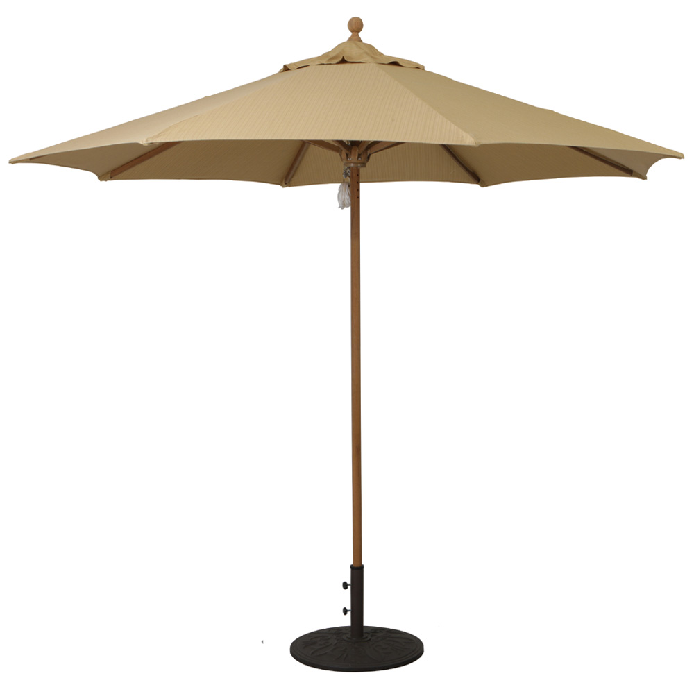 Galtech Teak 9 Round Umbrella With Quad Pulley 532tk