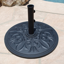 Galtech 24 Inch Round Cast Aluminum Umbrella Base with 75 LBS. Weight - 075AL