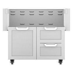 "Outdoor 36"" Double Drawer and Door Tower Grill Cart"
