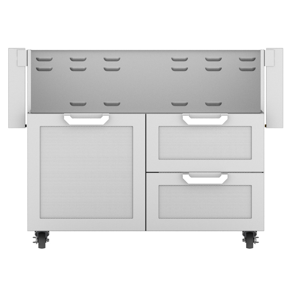 "Outdoor 42"" Double Drawer and Door Tower Grill Cart"