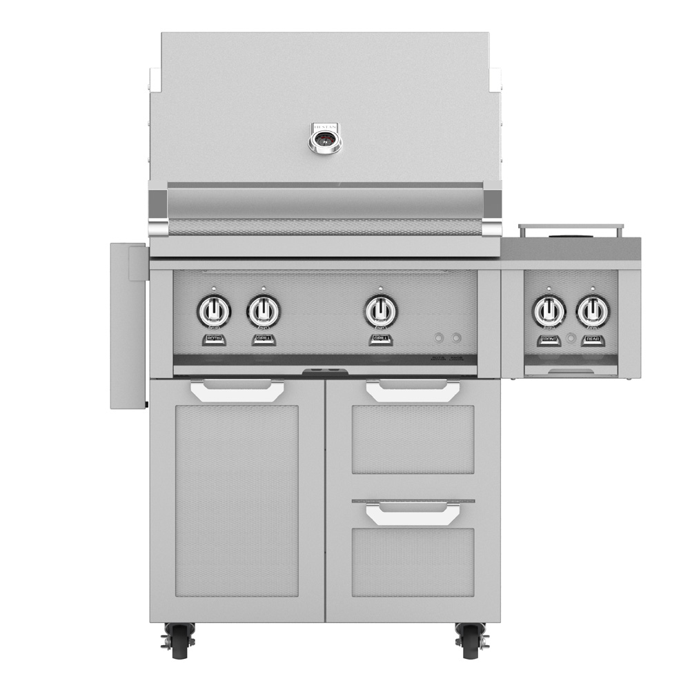 "Outdoor 30"" Grill with Cart and Double Side Burner"