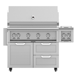 "Outdoor 42"" Grill with Cart and Double Side Burner"
