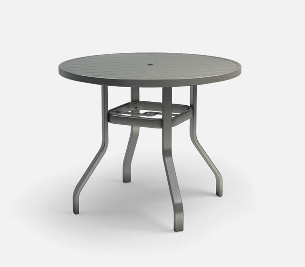 Homecrest Breeze 42 Inch Round Balcony Table with Umbrella Hole - 3042RB