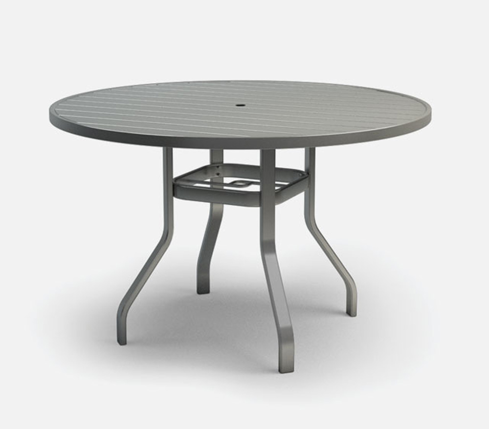 Homecrest Breeze 48 Inch Round Balcony Table with Umbrella Hole - 3048RB