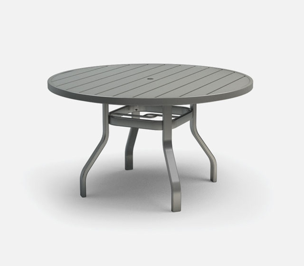 Homecrest Breeze 48 Inch Round Dining Table With Umbrella Hole 3048rd