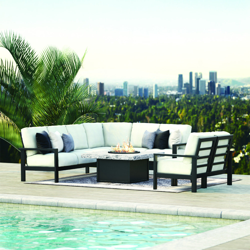 Homecrest Elements Cushion L-Sectional Patio Set with Loveseat and Slate Fire Table - HC-ELEMENTS-SET10