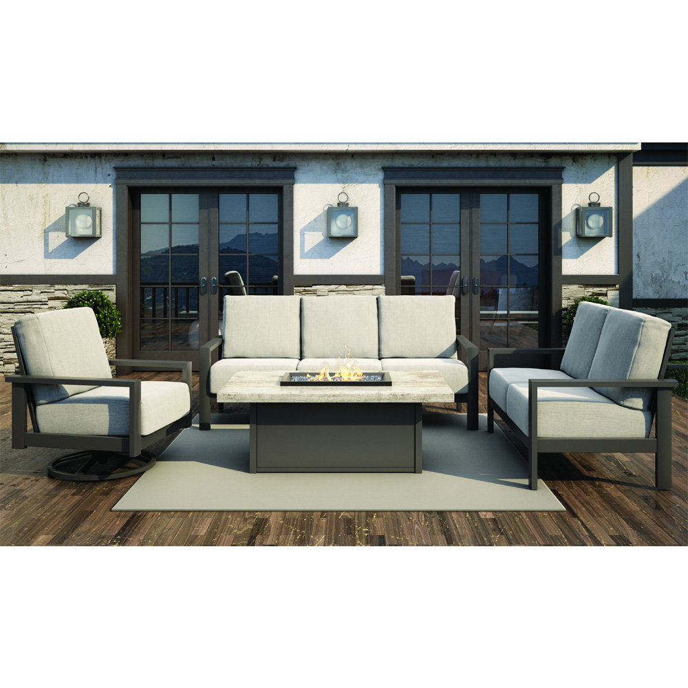 Homecrest Elements Cushion Modern Fire Pit Patio Set - HC-ELEMENTS-SET8