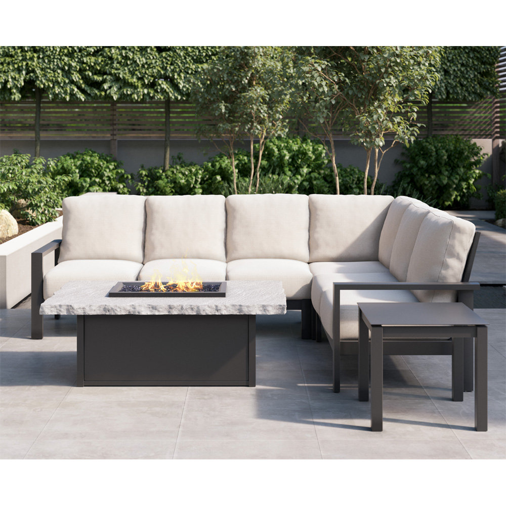 Homecrest Elements Cushion Patio Sectional With Slate Fire